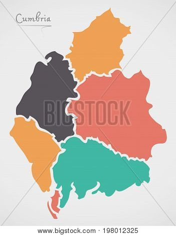 Cumbria England Map With States And Modern Round Shapes