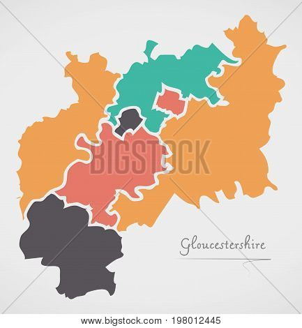 Gloucestershire England Map With States And Modern Round Shapes