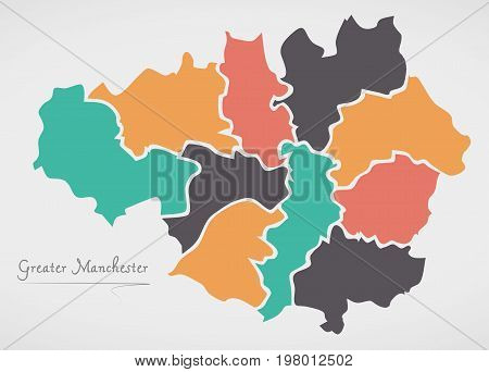 Greater Manchester England Map With States And Modern Round Shapes