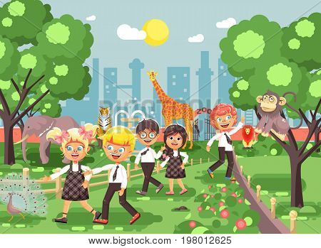 Stock vector illustration or banner for site with schoolchildren, classmates on walk, school zoo excursion zoological garden, boys and girls watching wild animals and birds flat style, city background