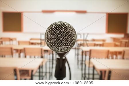 microphone stand center for speech and teaching at class room in school and university selective focus education concept