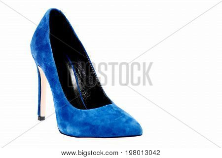 Fancy Blue Shoe As Fashion And Beauty Concept