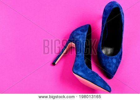 Fashion And Beauty Concept. Shoes In Dark Blue Color