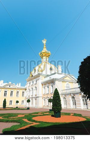Peterhof, St. Petersburg, Russia - JULY 27, 2017. The East or West Chapel one of a pair flanking the central buildings of The Petegof Palace. Imperial treasury museum of jewels