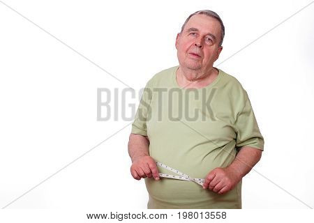 Portrait Of Senior Elderly Overweight Man With Measuring Tape Ar