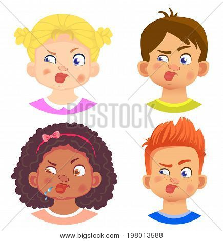 Set of girls and boy character. Children emotions. Facial expression. Set of emoticons. Tongue sticking out