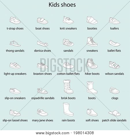 Kids shoes, set, collection of fashion footwear with names. Baby, girl, boy, child, childhood. Vector design isolated illustration. Black outlines, white images, blue background