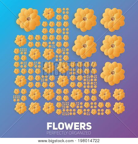 Flowers organized perfectly. Vector flowers organized neatly by the grid. Conceptual floral generative background. Procedural graphics. Perfect order background