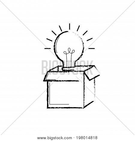 figure open box with electric bulb light vector illustration