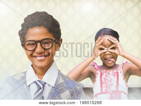 Digital composite of kids having fun with blank room background