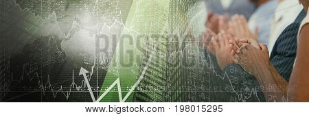 Digital composite of Business people applauding