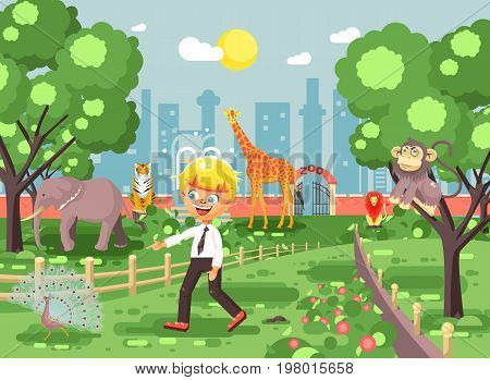 Stock vector illustration banner for site with schoolchild on walk, school zoo excursion zoological garden, blonde little boy monkey, peacock, elephant, lion, tiger, giraffe, wild animals flat style