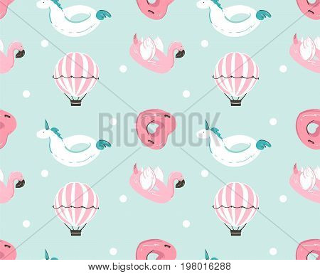 Hand drawn vector abstract summer time fun seamless pattern with pink flamingo float, unicorn swimming pool buoy , heart shape circle and hot air balloon isolated on blue water background.