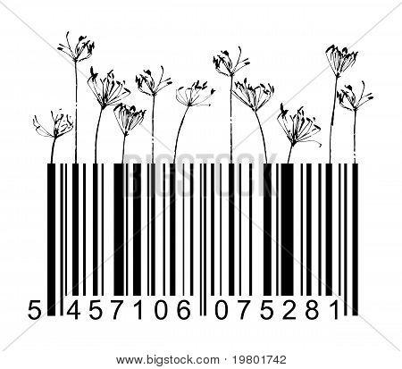 Barcode Black Flowers