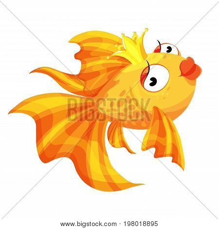 Goldfish cartoon character smiling fashionable gold Princess