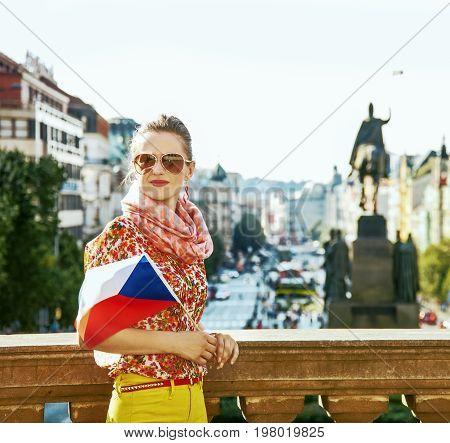 Traveller Woman On Vaclavske Namesti In Prague With Czech Flag
