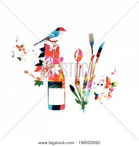 Cutlery set, spoon, fork and knife with wine bottle isolated vector illustration. Colorful tableware design for restaurant poster, restaurant menu, wine tasting, events