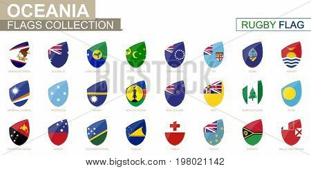 Oceanian countries flags collection. Rugby flag set. Vector Illustration.