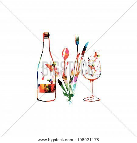 Cutlery set, spoon, fork and knife with wine bottle and glass isolated vector illustration. Colorful tableware design for restaurant poster, restaurant menu, wine tasting, events
