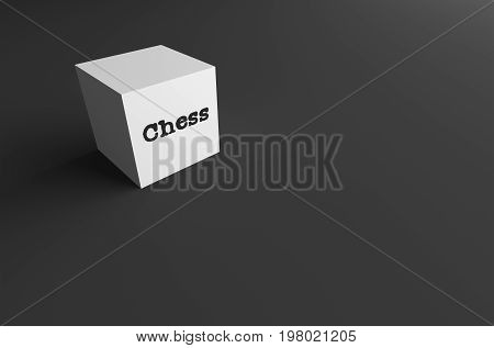 3D RENDERING WORD Chess WRITTEN ON WHITE CUBE WITH BLACK PLAIN BACKGROUND
