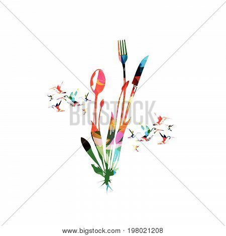 Cutlery set, spoon, fork and knife isolated vector illustration. Colorful tableware design for restaurant poster, restaurant menu, events