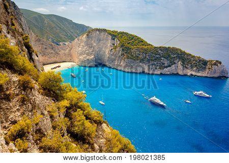 Navagio beach. Shipwreck bay, Zakynthos island, Greece.