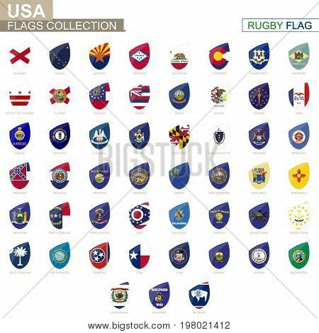 US states flags collection. Rugby flag set. Vector Illustration.