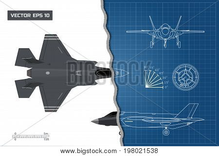 Drawing of military aircraft. Industrial blueprint. Top, side, front views. Fighter jet. War plane with external weapons. Vector illustration.