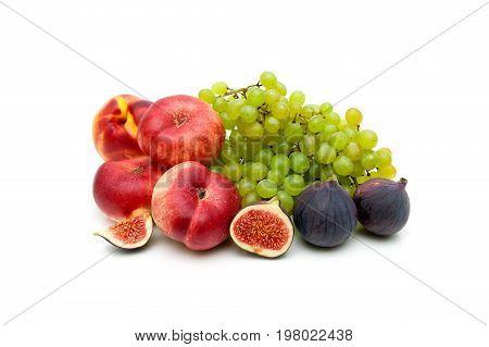 Ripe juicy fruit isolated on white background. Horizontal photo.