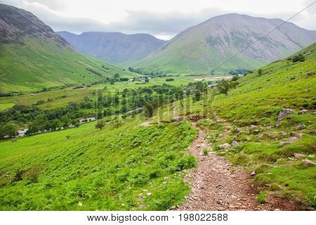 View of Wasdale on the way to Scafell pike, the highest mountain in England, Lake District National Park, England, selective focus