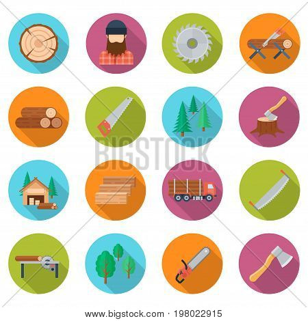 Sawmill icon set. Lumber mill, logs cut industry, forest equipment and tools, wood crafting service. Vector flat style illustration isolated on white background