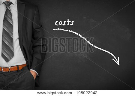 Costs reduction, costs cut, costs optimization business concept. Businessman with simple graph with descending curve.