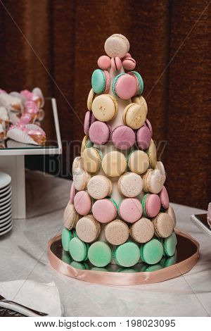 Homemade Macaroons Cackes On Stand