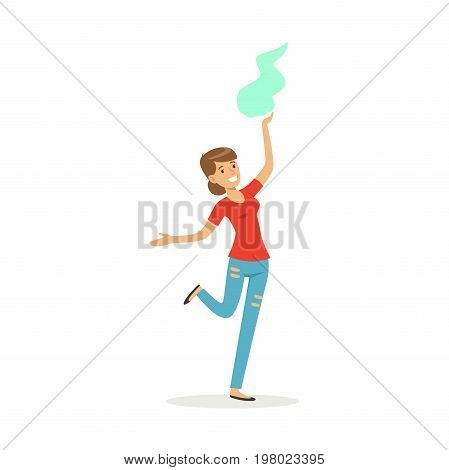 Beautiful woman in casual clothes dancing traditional Indian dance colorful character vector Illustration on a white background