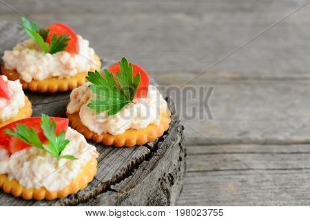 Homemade mini sandwiches with cream cheese on a wooden background with copy space for text. Quick snack from salty cookies, spicy cream cheese, fresh tomato and parsley. Tasty appetizer recipe