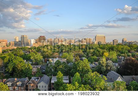 TORONTO - May 30 2014: Toronto cityscape panorama in spring time with green trees. Ontario Canada