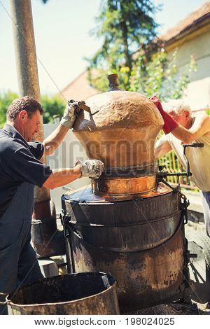 Traditional home made distillery for making brandy