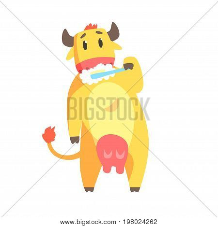 Cute cartoon cow brushing teeth with tooth brush and paste colorful character, animal grooming vector Illustration on a white background
