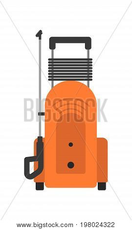 Portable pressure washer isolated icon in flat style. House cleaning tool, housework supplies vector illustration