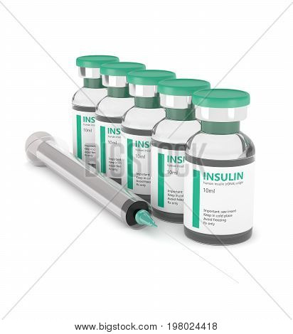 3D Rendering Of Insulin Vials With Syringe