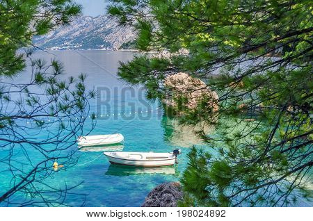 Brela, Croatia. A wonderful place Brela with crystal clear adriatic sea and aroma of pines. Dalmatia, Makarska Riviera in summer