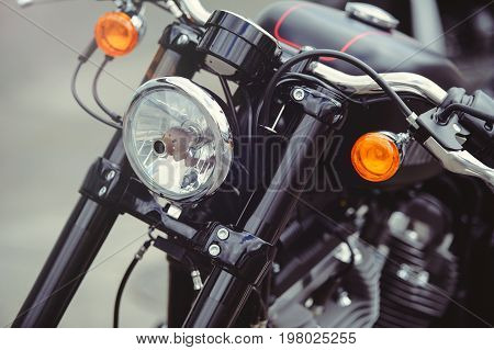Headlamp Black Stylish Motorcycle, Modern Trends And Classic