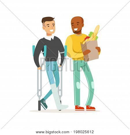 Young man with leg in a plaster using crutches shopping with his friend or volunteer, healthcare assistance and accessibility colorful vector Illustration on a white background