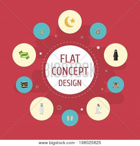 Flat Icons Muslim Woman, Palm, Mecca And Other Vector Elements
