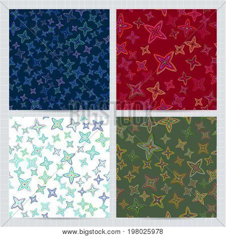 Vector Seamless Patterns Set . Collection Of Multicolored Backgrounds, Decorative Design Template In