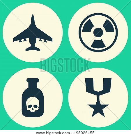 Battle Icons Set. Collection Of Danger, Dangerous, Aircraft And Other Elements