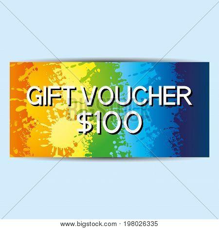 Rainbow gift voucher on a blue background.