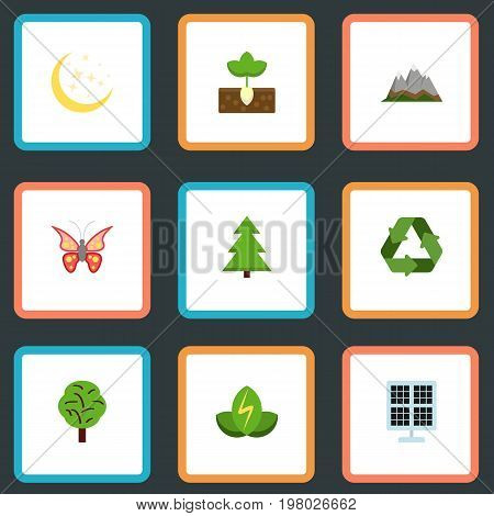 Set Of Nature Flat Icons Symbols Also Includes Wood, Plant, Panel Objects.  Flat Icons Wood, Landscape, Sprout Vector Elements.