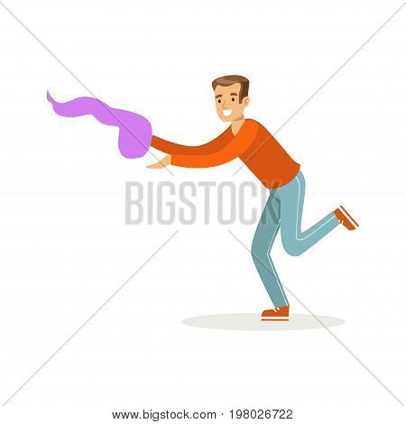 Young man in casual clothes dancing traditional Indian dance colorful character vector Illustration on a white background