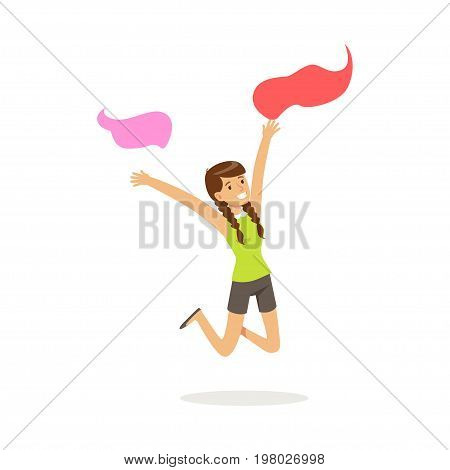 Beautiful young woman in casual clothes dancing traditional Indian dance colorful character vector Illustration on a white background
